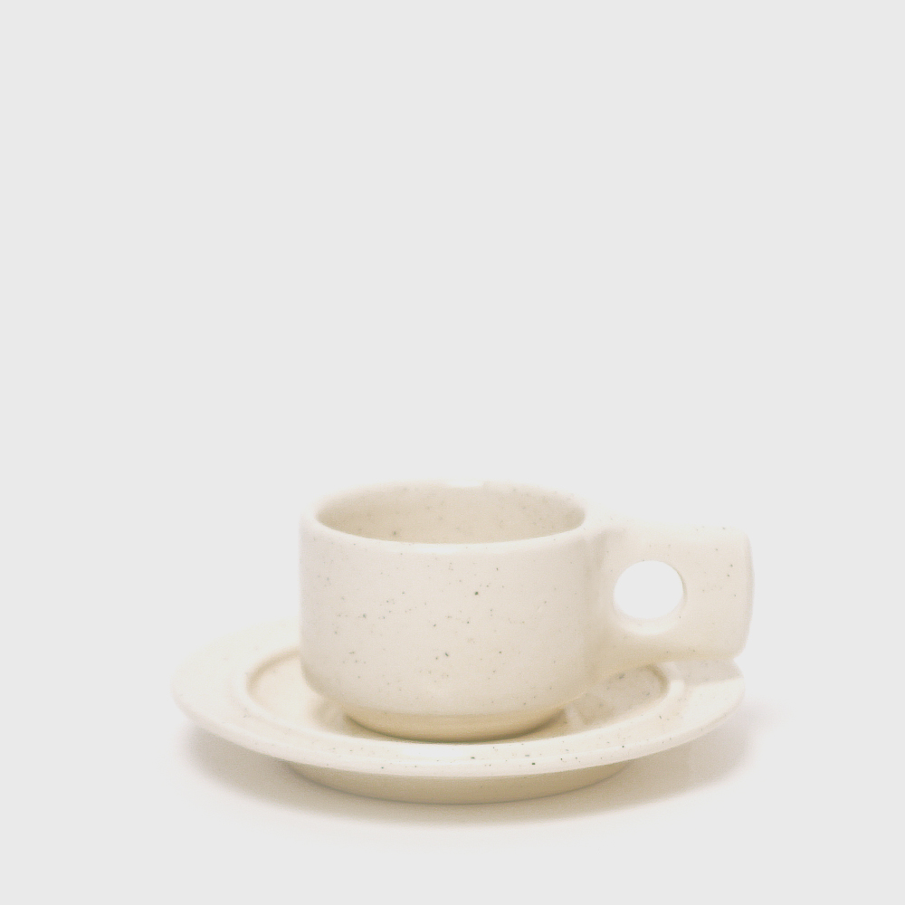 Fabrik Pottery Exclusive Plain Flat Cup & Saucer [New]