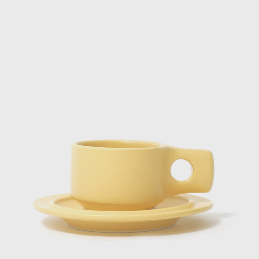 Fabrik Pottery Exclusive Yellow Flat Cup & Saucer [New]