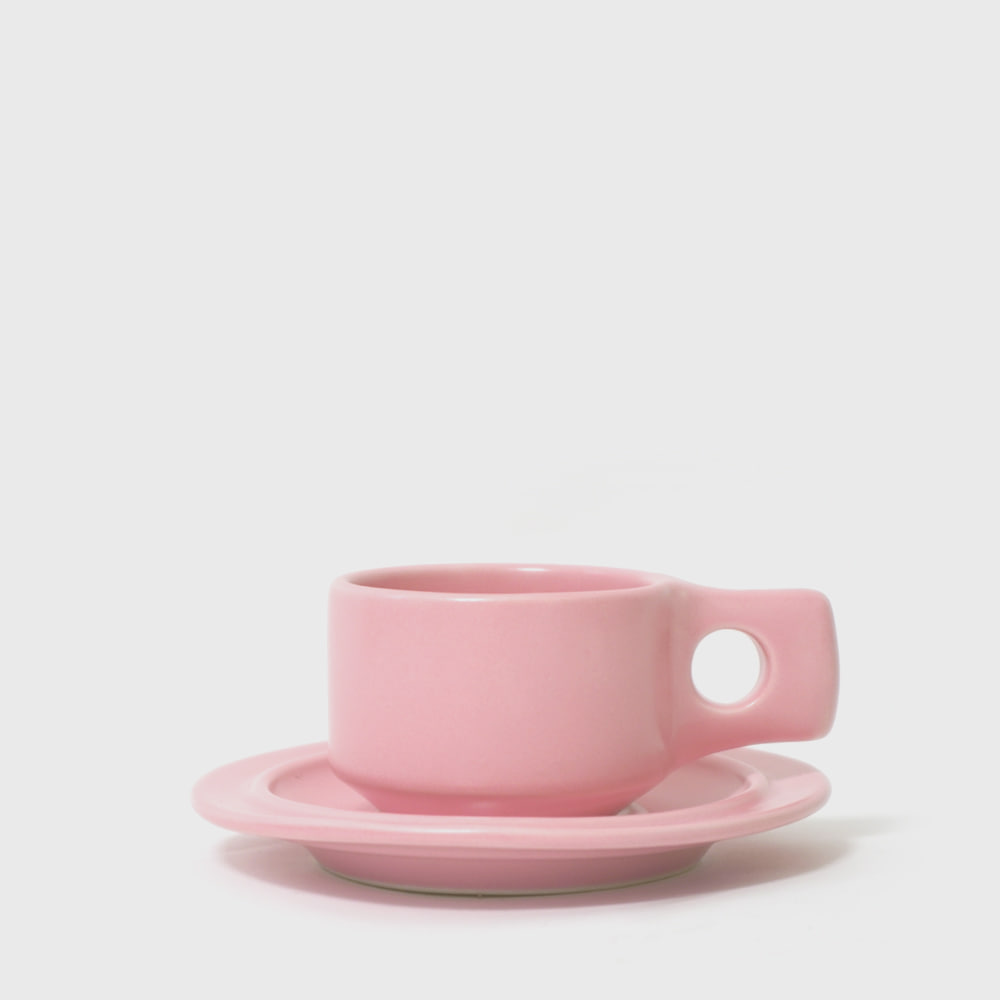 Fabrik Pottery Exclusive Pink Flat Cup & Saucer [New]