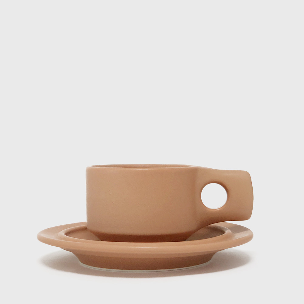 Fabrik Pottery Exclusive Tawny Flat Cup & Saucer [New]