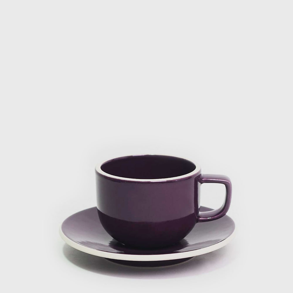 Sasaki by Massimo Vignelli Flat Cup & Saucer - Plum