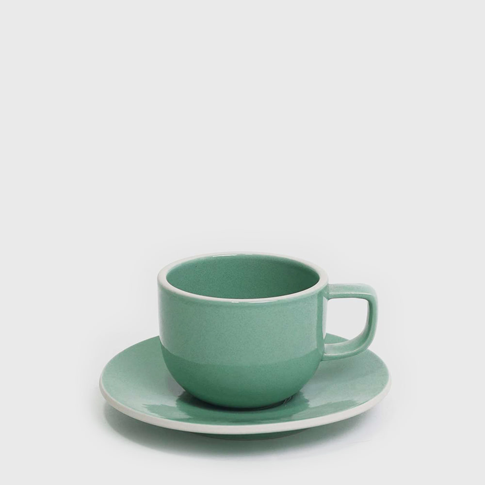 Sasaki by Massimo Vignelli Flat Cup & Saucer - Seafoam Green