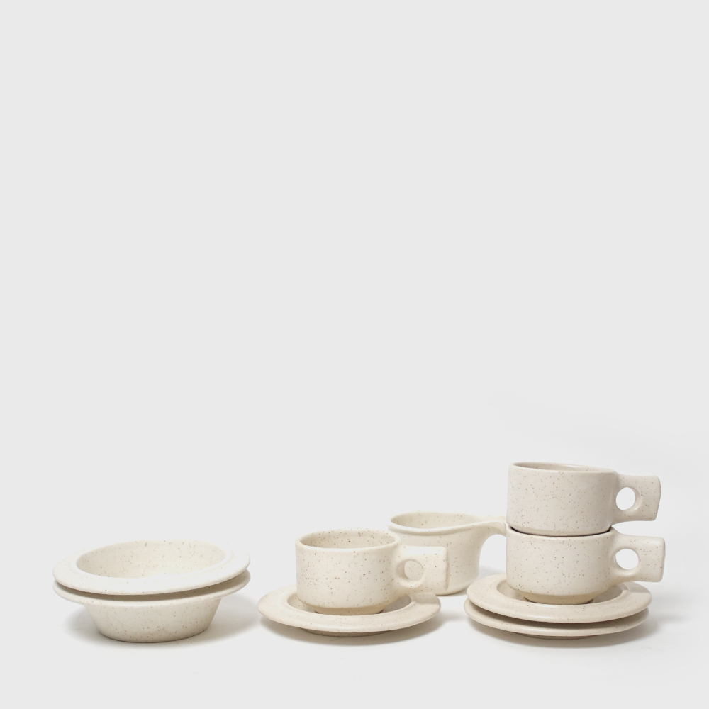 Fabrik Pottery Pebble White Stoneware Set