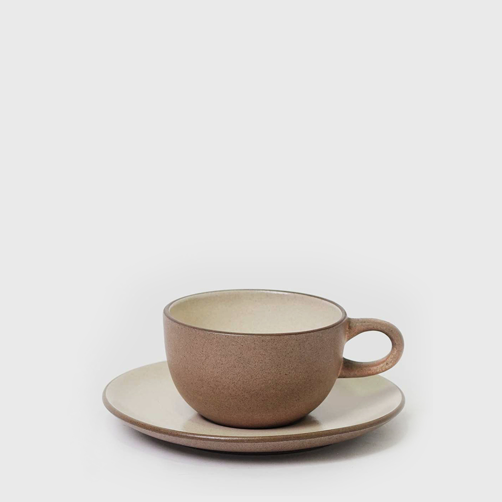 Heath Ceramic Sandalwood Coupe Line Cups & Saucers