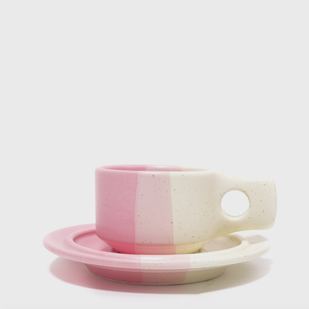 Fabrik Pottery Exclusive Colorblock Pink Flat Cup & Saucer [New]