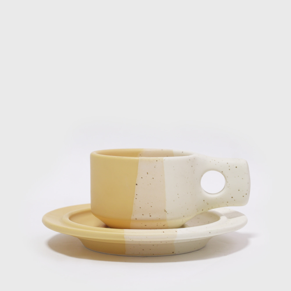 Fabrik Pottery Exclusive Colorblock Yellow Flat Cup & Saucer [New]