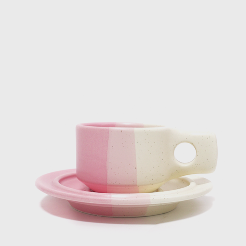 [Color block] Pink Flat Cup & Saucer [New]