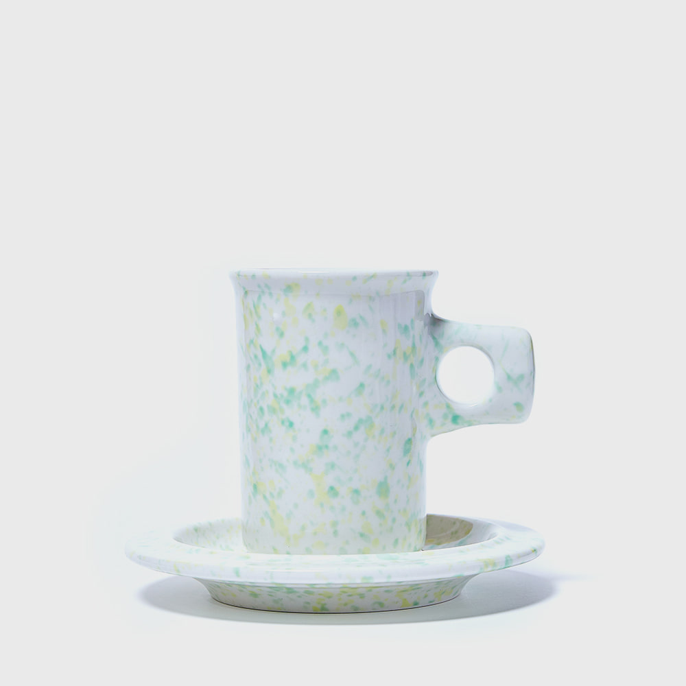[Splash Line] Green pool Flat Mug & Saucer