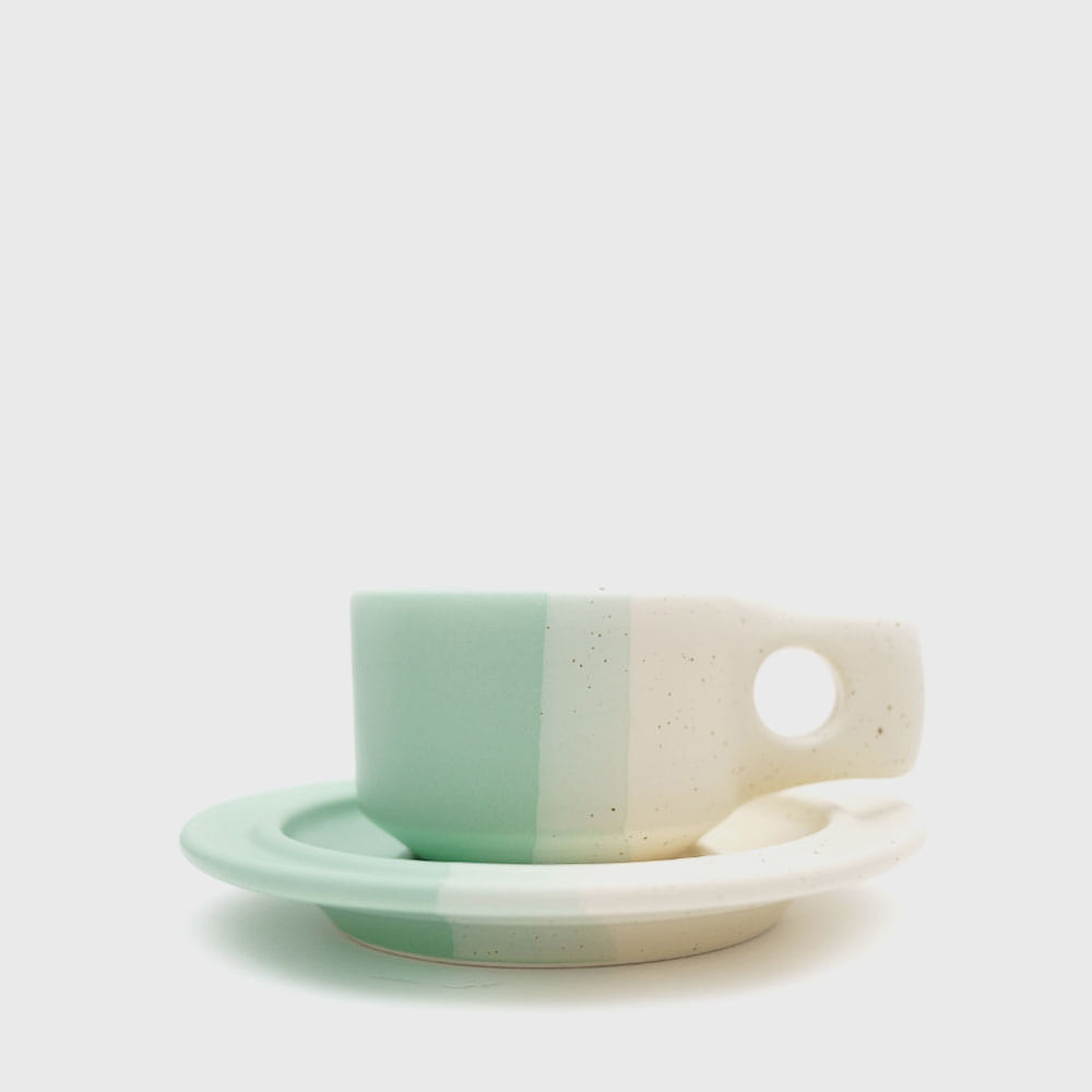 [Color Block Line] Mint Flat Cup & Saucer