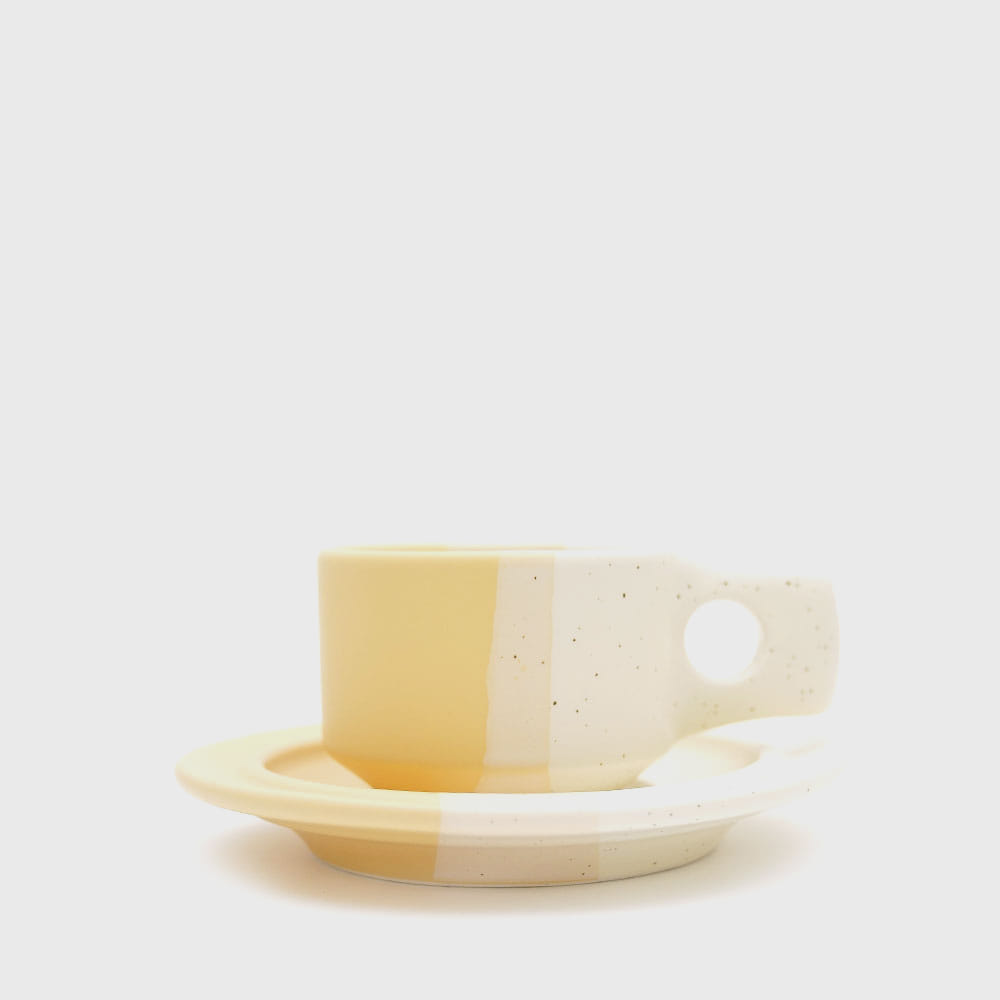 [Color block] Yellow Flat Cup & Saucer [New]