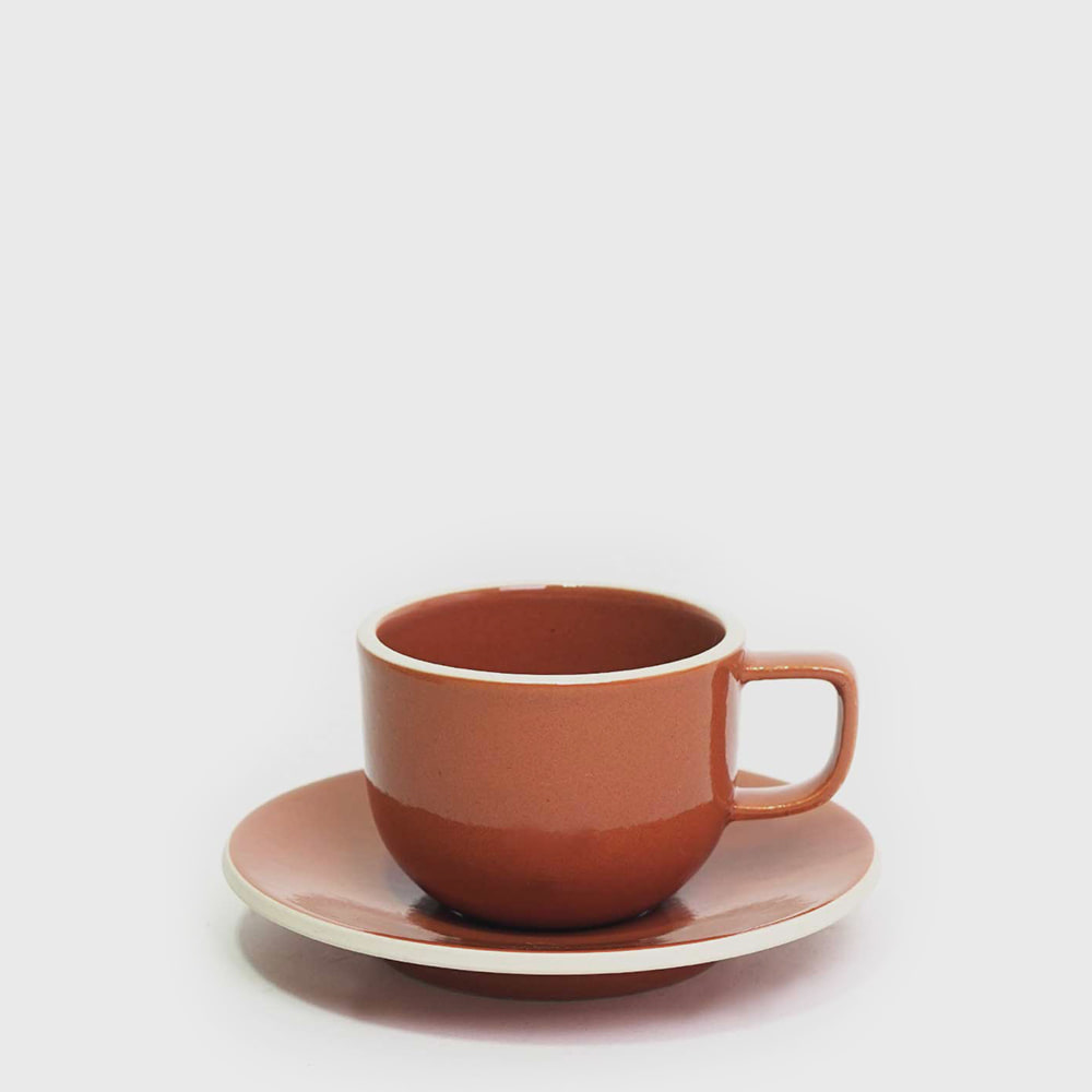 Sasaki by Massimo Vignelli Flat Cup & Saucer - Sienna
